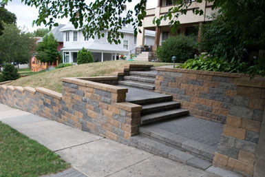 Image: Tier One Landscape block wall and steps.