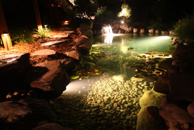 Image: Tier One Landscape pond lighting.