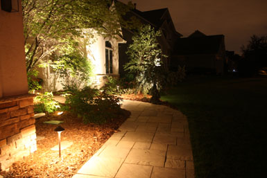 Image: Tier One Landscape stone walkway and landscape lighting.
