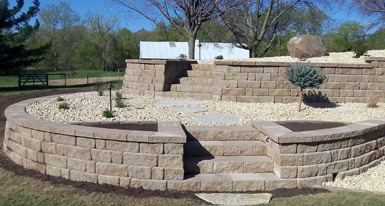 Tier Limestone Retaining Wall Retaining Wall And Steps Constructed Of  Anchor Highland Block