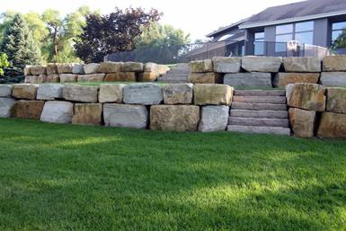 tier limestone retaining wall