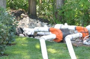 Installing pumps for the water feature